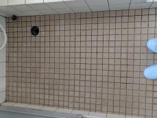 洗い場の床です。<br /> タイル面全体に石鹸カスや水アカが付着しており、まだらになっています。